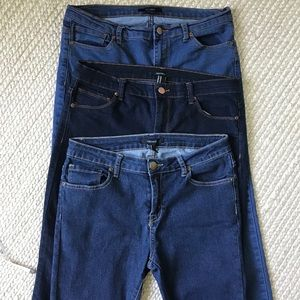 Forever 21 Skinny Mid Rise Jeans 29 3 Pair & Wash